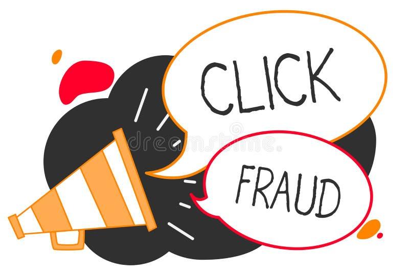 Fraude do clique da escrita do texto da escrita A prática do significado do conceito repetidamente do clique na propaganda hosped ilustração stock