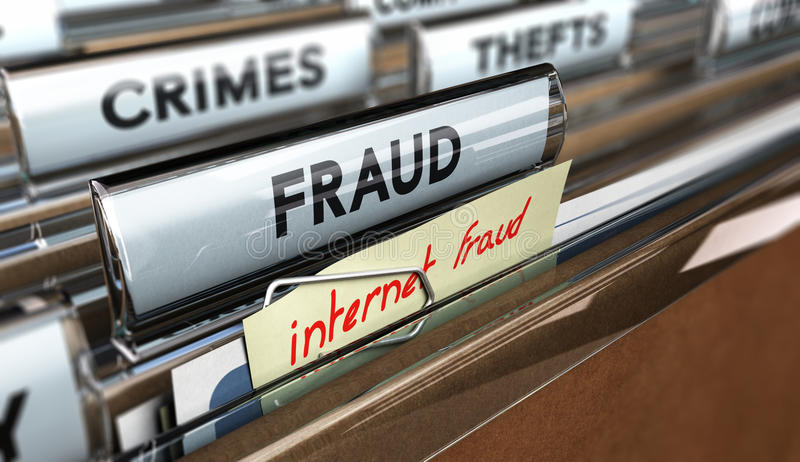 Fraude do Internet, embustes em linha ilustração royalty free