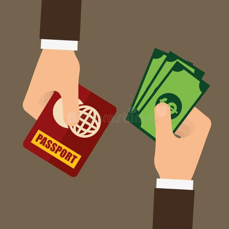 Fraude do passaporte e projeto do corte ilustração royalty free