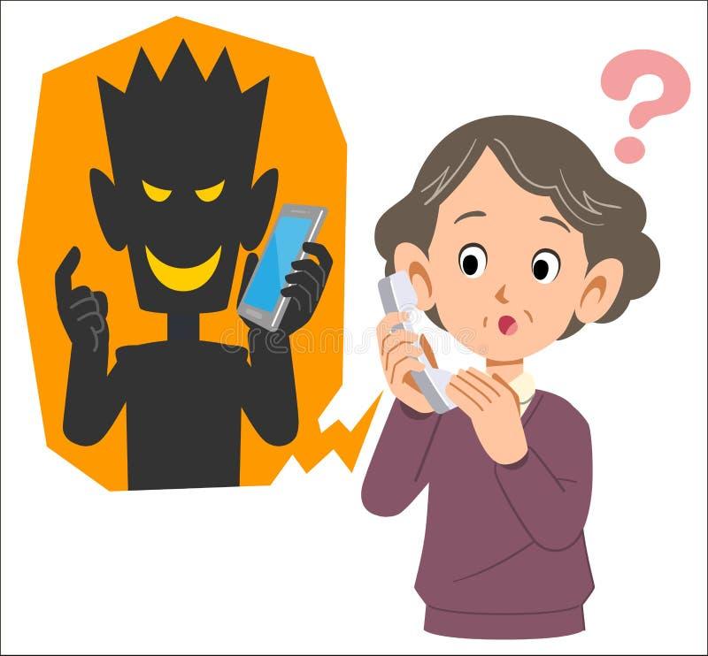 Fraude et femme supérieure vraisemblablement à tromper utilisant le téléphone photos libres de droits