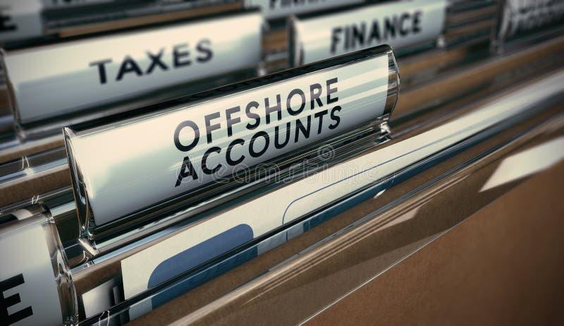 Fraude fiscale, compte en mer illustration de vecteur