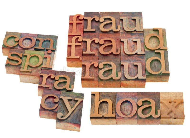 Fraude, hoax en samenzwering stock fotografie
