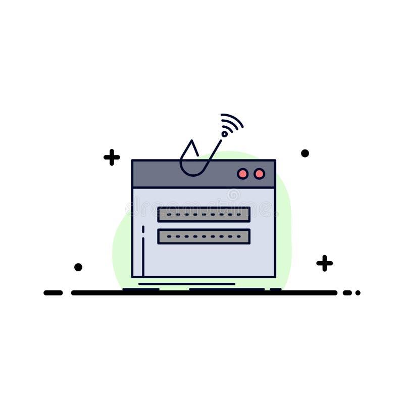 fraude, Internet, login, wachtwoord, het Pictogramvector van de diefstal Vlakke Kleur vector illustratie