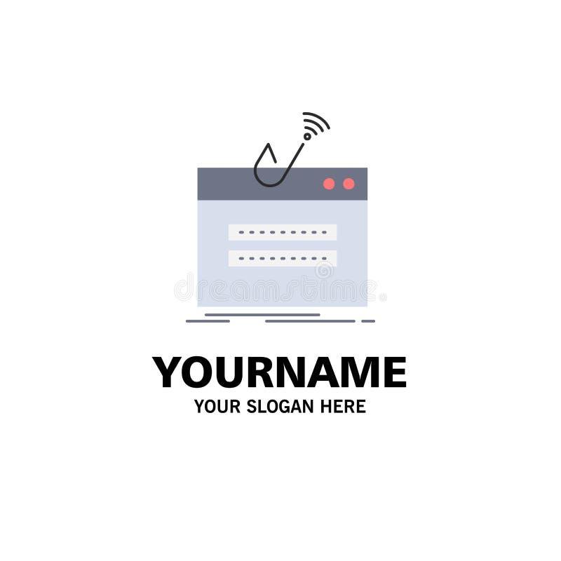 fraude, Internet, login, wachtwoord, het Pictogramvector van de diefstal Vlakke Kleur stock illustratie