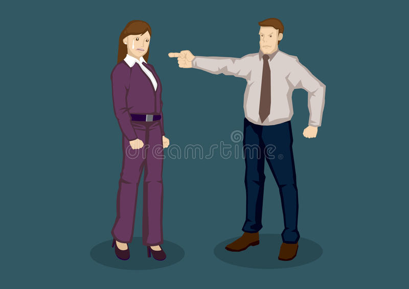Frauen-Angestellter gerügt vom Chef Vector Illustration lizenzfreie abbildung