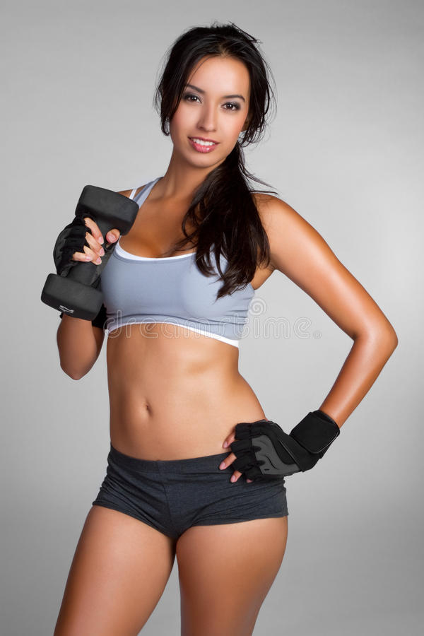 Frauen-anhebende Gewichte stockbild