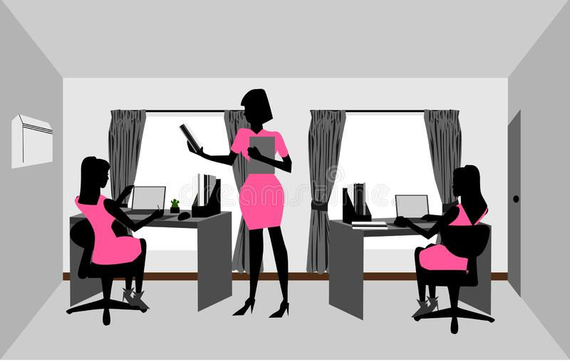 Frauen arbeiten im Raum vektor abbildung