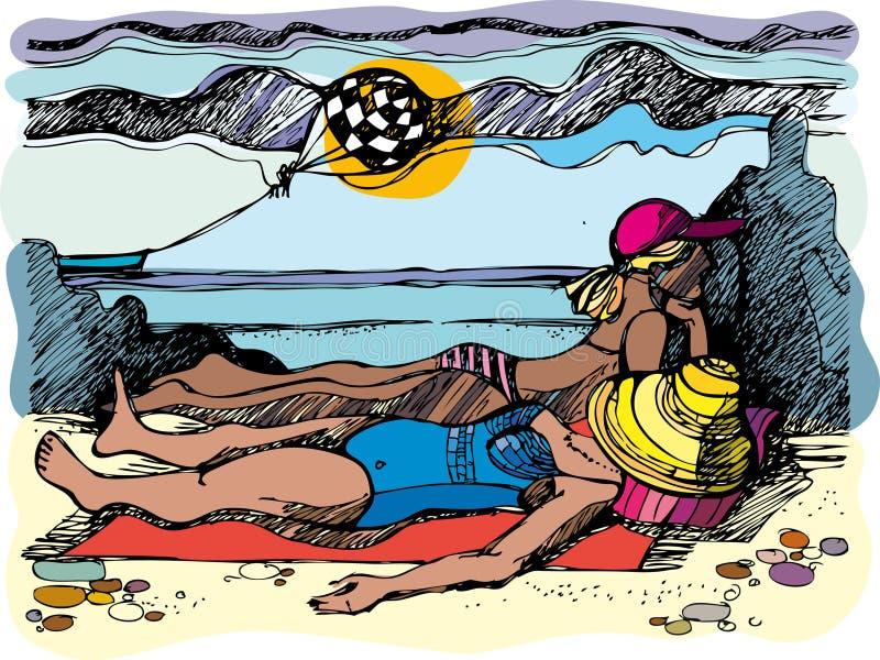 Frauen auf einem Strand. lizenzfreie abbildung