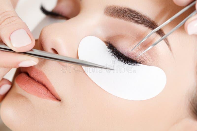 Frauen-Auge mit den langen Wimpern. Wimper-Erweiterung lizenzfreies stockfoto