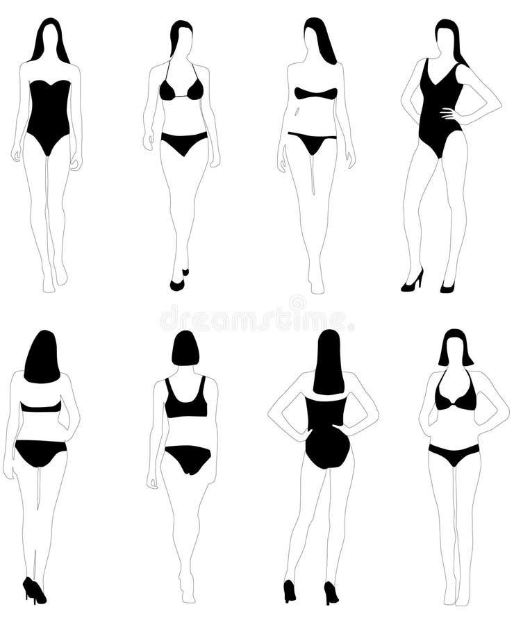 Frauen in baden-kleiden an lizenzfreie abbildung