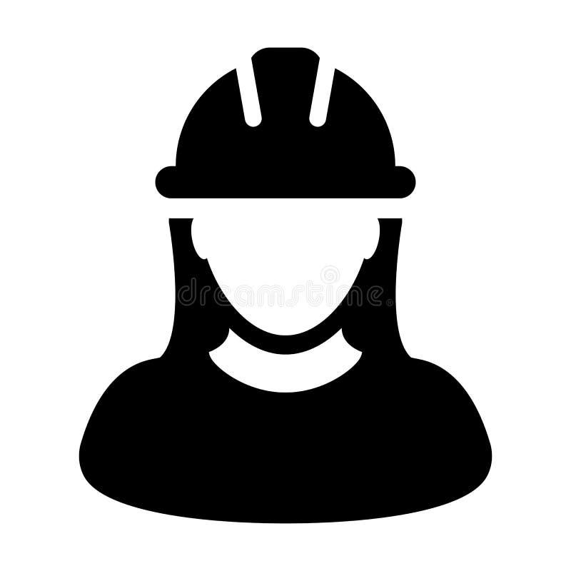 Frauen-Bauarbeiter Icon - Vektor-Person Profile Avatar-Illustration vektor abbildung