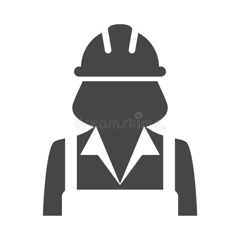 Frauen-Bauarbeiterikone lizenzfreie abbildung