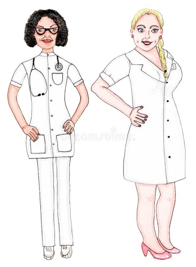 Frauen: behandeln Sie und pflegen Sie in der weißen Uniform - Aquarell auf Weiß stockbilder