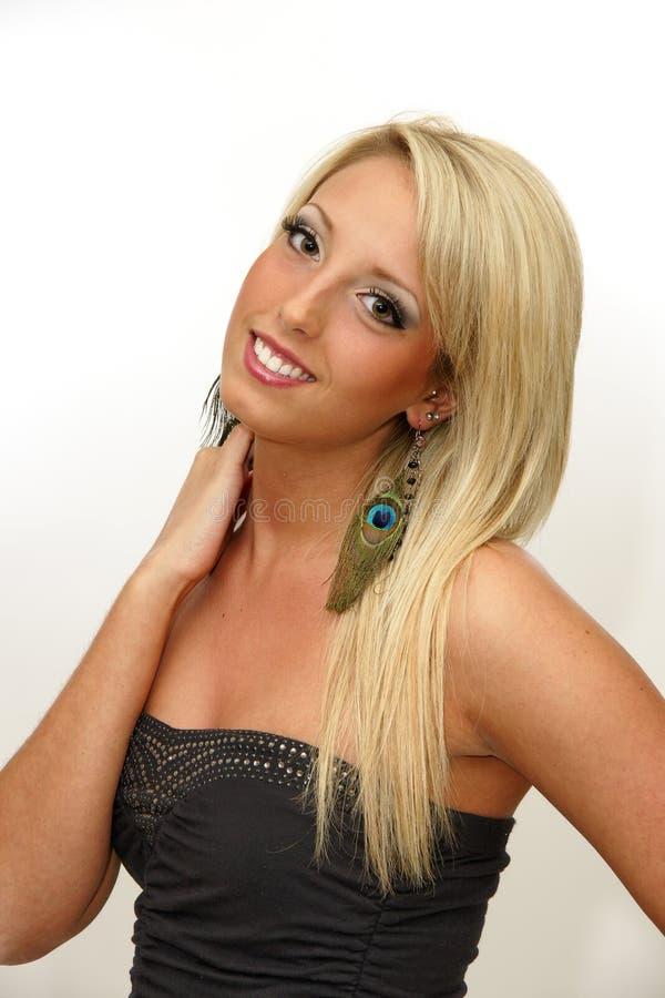 Frauen-blondes langes Haar, Mode-Modell Portrait, lächelndes Mädchen lizenzfreie stockbilder