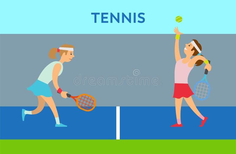 Frauen-Charakter, der Tennis, Praxis-Vektor spielt lizenzfreie abbildung