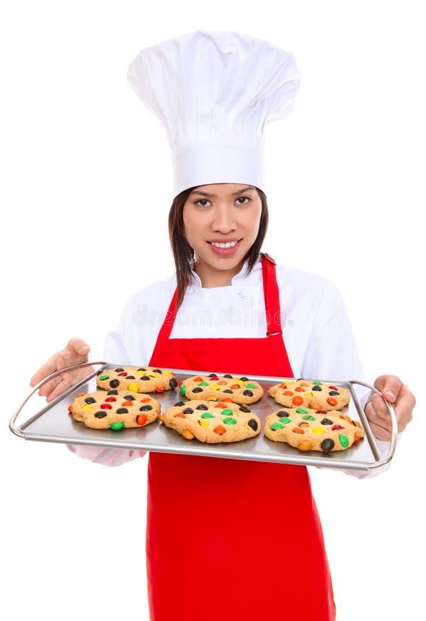 Frauen-Chef mit Plätzchen stockbilder