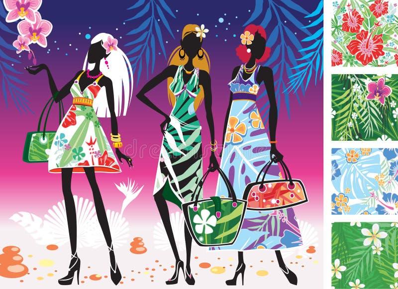 Frauen in den Sommerkleidern mit Mustern lizenzfreie abbildung