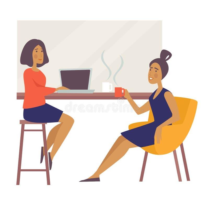 Frauen an der Kaffeepause in der Cafégeschäftsfrau mit Laptop und heißem Getränk stock abbildung
