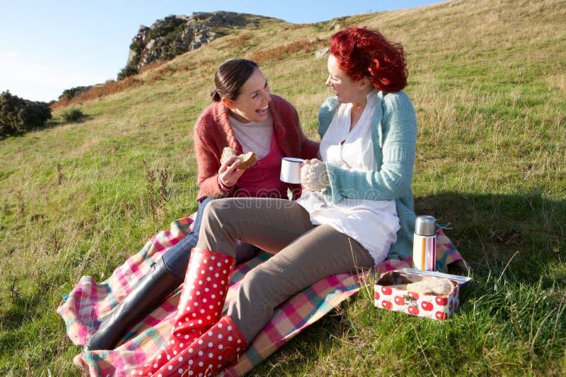 Frauen in der Landschaft, die ein Picknick hat lizenzfreies stockbild