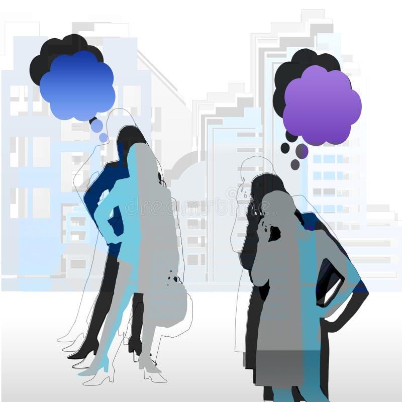 Frauen in der Stadt lizenzfreie abbildung