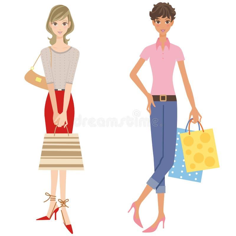 Frauen, die das Einkaufen tun lizenzfreie abbildung