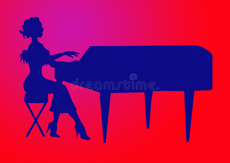 Frauen, die das großartige Klavier spielen lizenzfreie abbildung