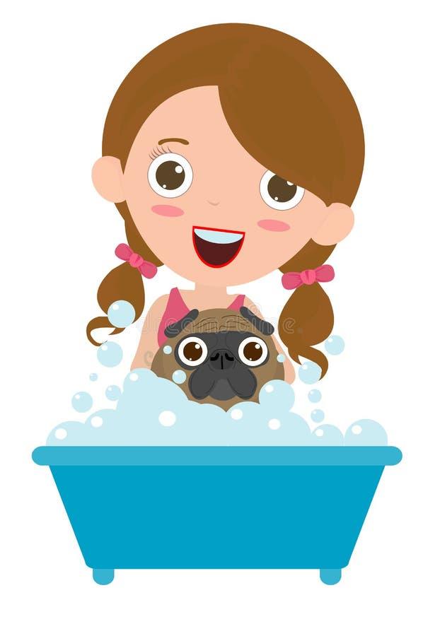 Frauen, die den Hund, glücklichen Welpen hat ein Bad, pflegenden Hund, flache Karikaturillustration des Vektors waschen stock abbildung