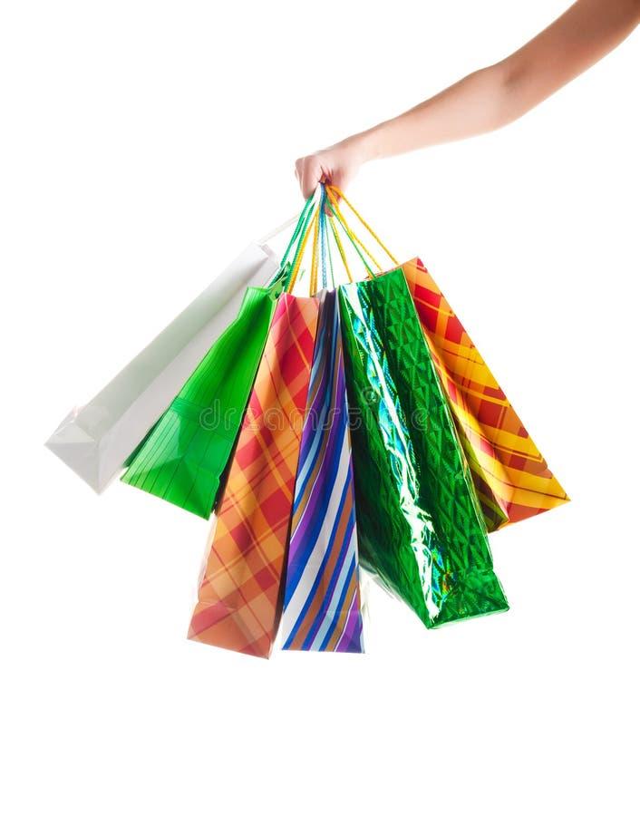 Frauen, die Einkaufenbeutel anhalten stockbilder