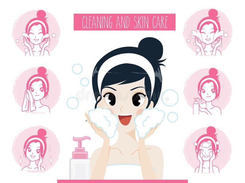 Frauen, die Hautpflegegesichtsaknebehandlung säubern stock abbildung