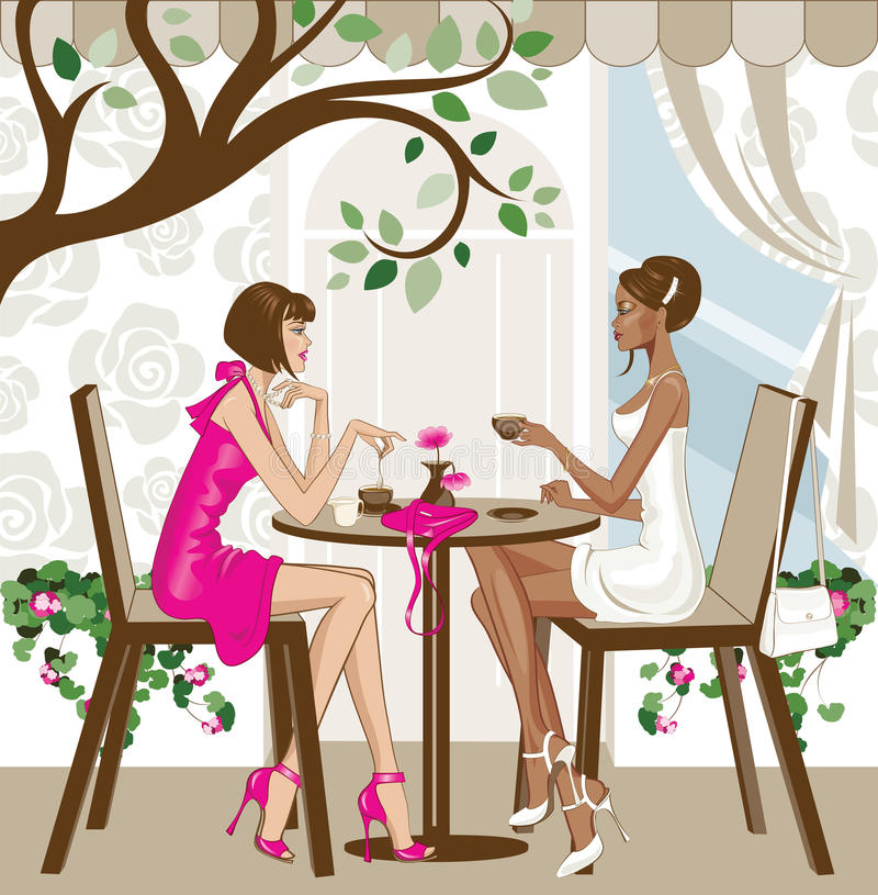 Frauen, die Kaffee trinken lizenzfreie abbildung