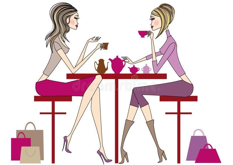 Frauen, die Kaffee, Vektor trinken lizenzfreie abbildung
