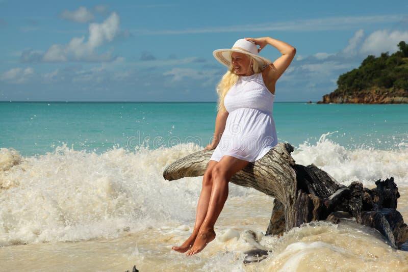 Frauen, die Meereswellen genießen lizenzfreies stockfoto
