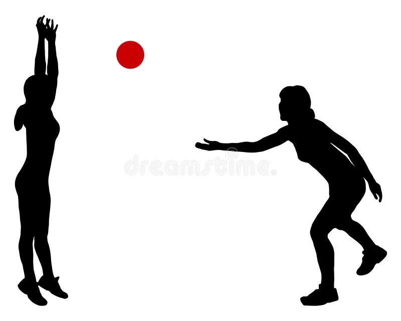 Frauen, die mit Kugel spielen vektor abbildung