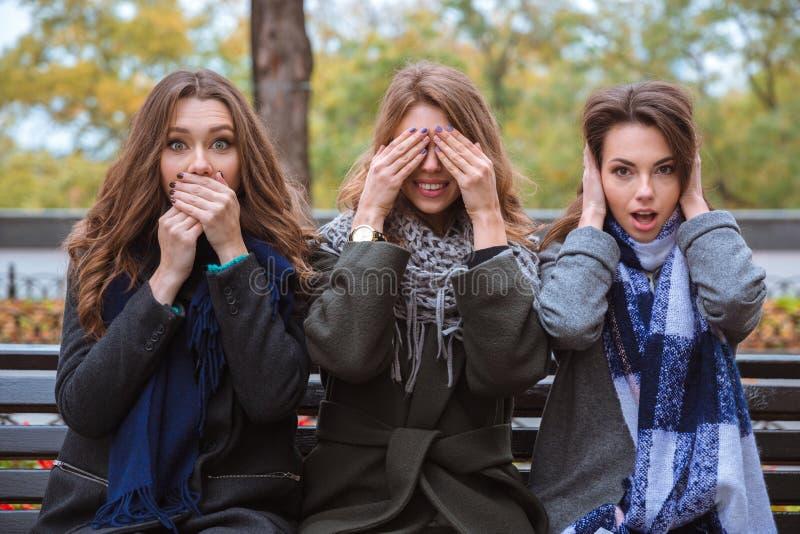 Frauen, die Richtungen darstellen: stumm, blind und taub stockbilder