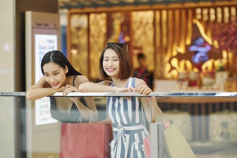 Frauen, die Spaß während des Einkaufens haben lizenzfreies stockfoto