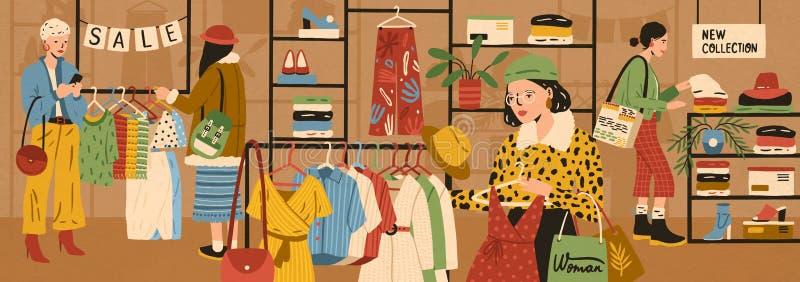 Frauen, die stilvolle Kleidung am Bekleidungsgeschäft oder an der Kleiderboutique wählen und kaufen Weiblicher Kundenkauf modisch vektor abbildung