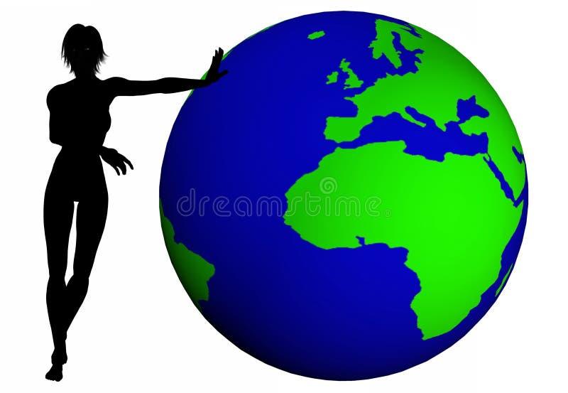Frauen drücken die Welt stock abbildung