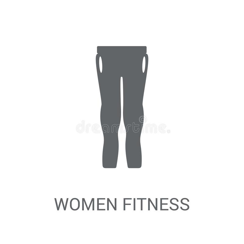 Frauen-Eignungs-Kleidungsikone Modisches Frauen-Eignungs-Kleidungslogo vektor abbildung