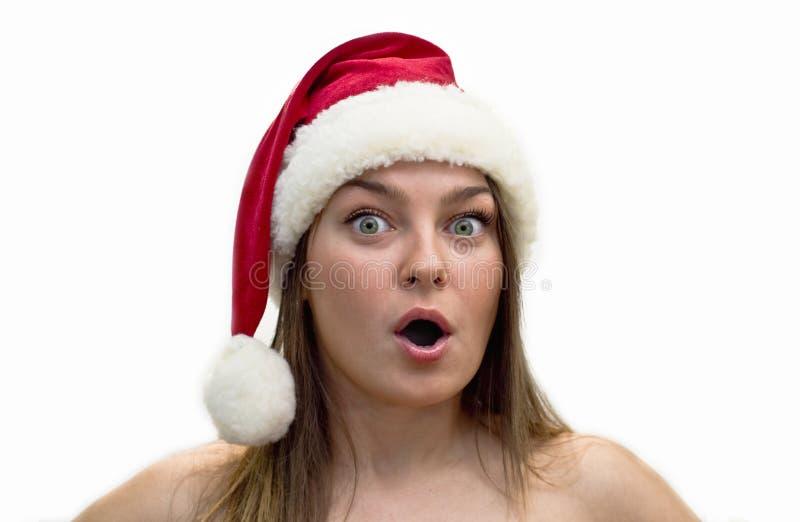 Frauen in einem Weihnachtsmann-Hut lizenzfreie stockbilder