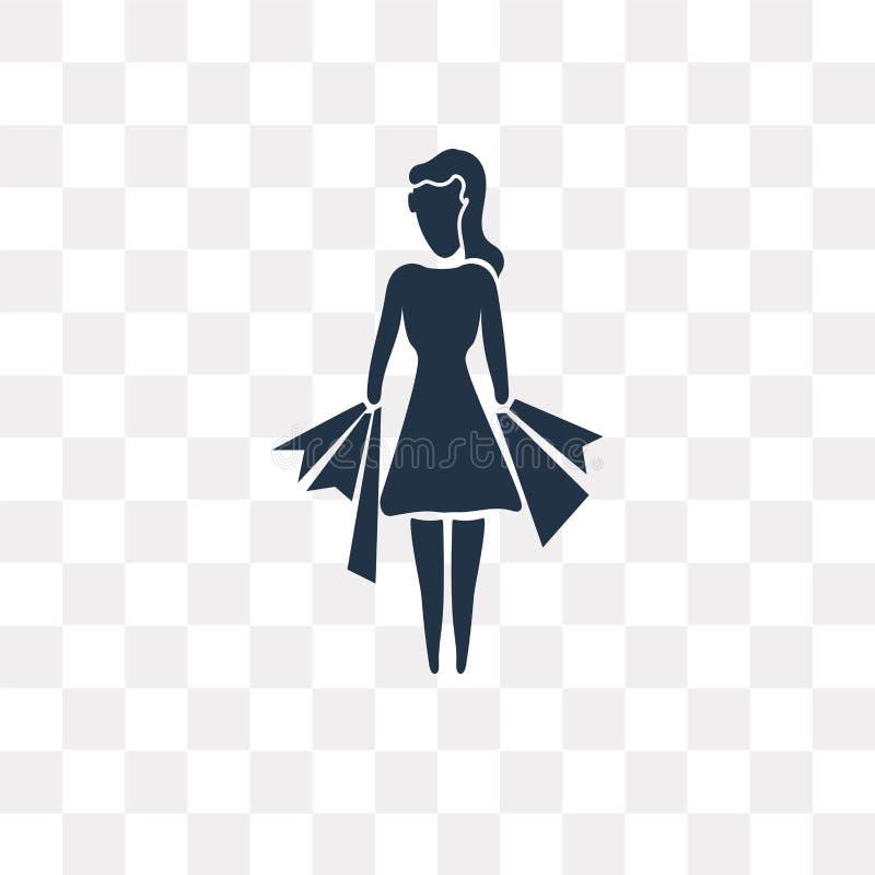 Frauen-Einkaufsvektorikone lokalisiert auf transparentem Hintergrund, W lizenzfreie abbildung
