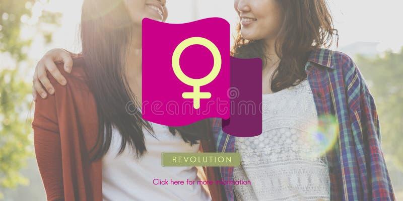 Frauen-Energie-Feminist-Gleichgestelltes berichtigt Konzept stockfotos