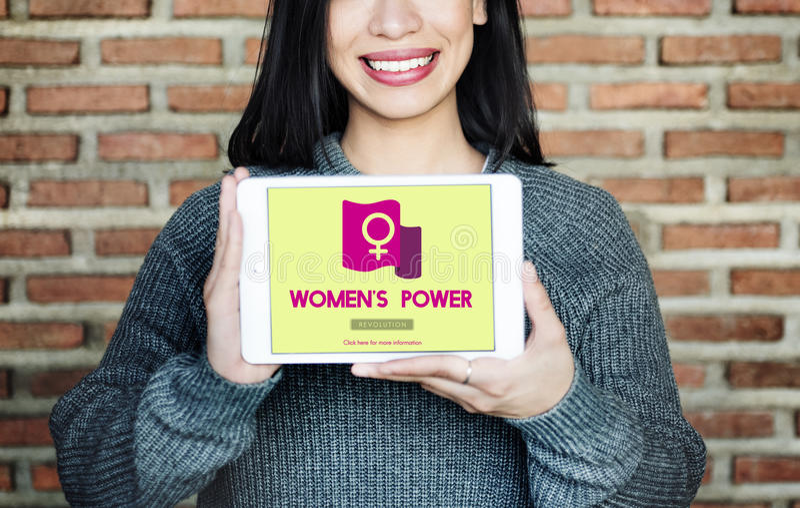 Frauen-Energie-Feminist-Gleichgestelltes berichtigt Konzept stockbilder