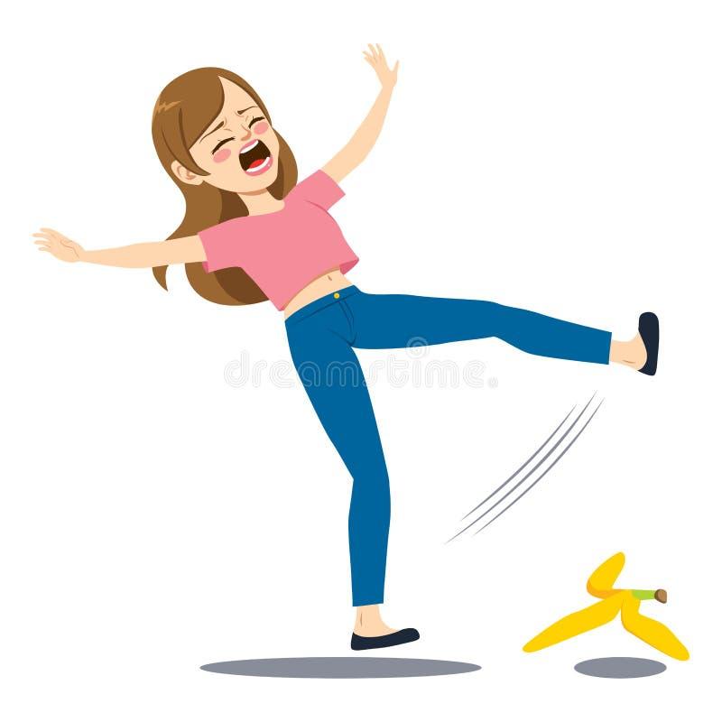 Frauen-fallende Bananen-Schale vektor abbildung