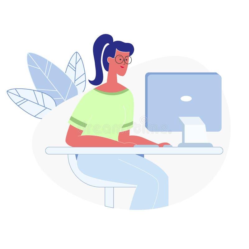 Frauen-Funktion auf Computer-flacher Vektor-Illustration vektor abbildung