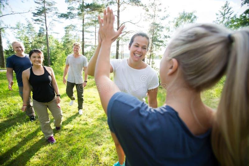 Frauen-Geben hoch--Fünf während Freunde, die am Wald gehen lizenzfreies stockbild