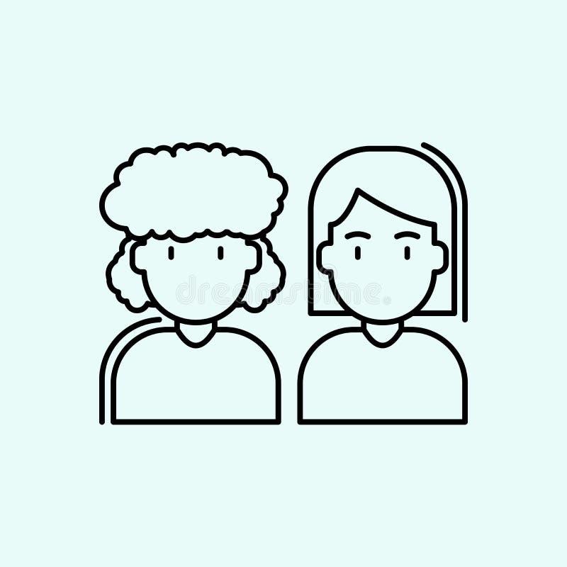Frauen, Geschlecht, Leuteikone E Entwurf, d?nne Linie Ikone f?r Websiteentwurf vektor abbildung