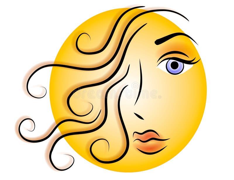 Frauen-Gesichts-Web-Zeichen-Ikonen-Gold lizenzfreie abbildung