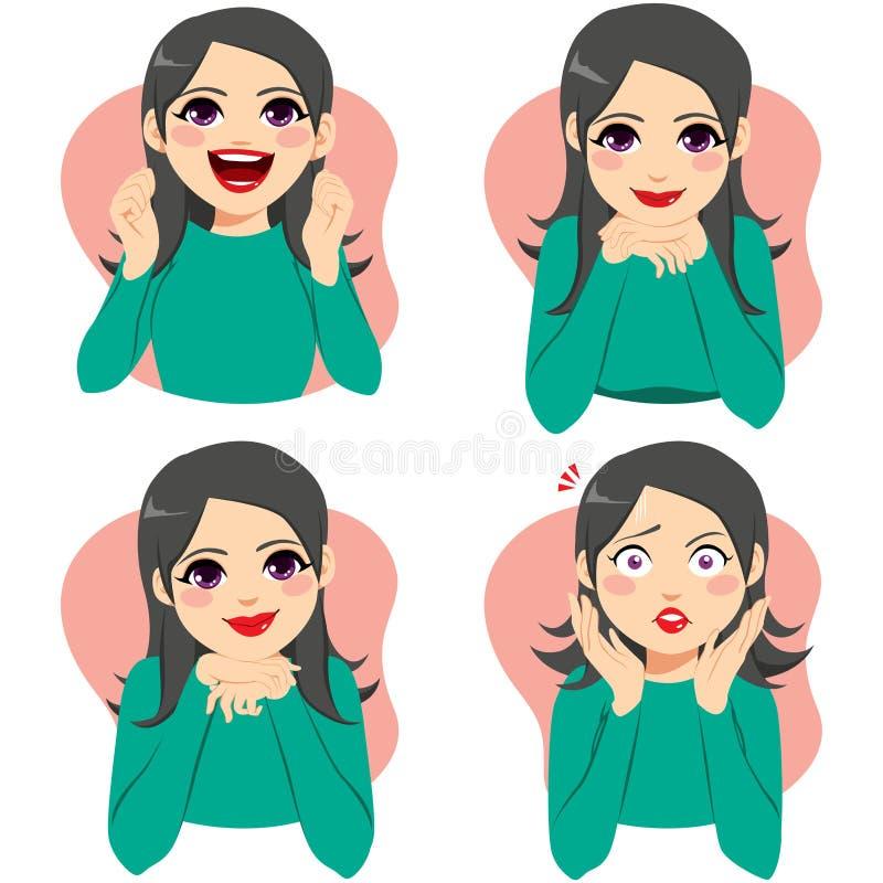 Frauen-Gesichtsgefühl-Ausdrücke vektor abbildung
