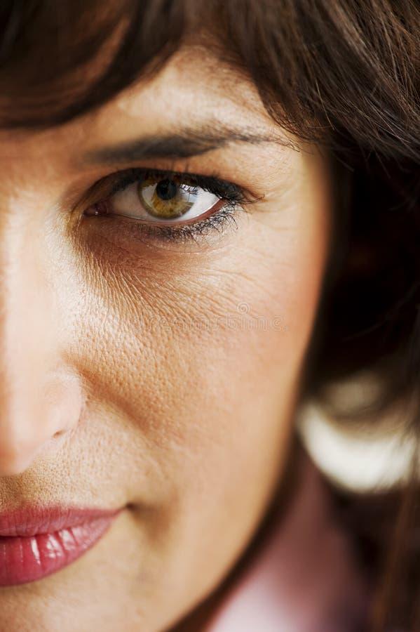 Frauen-halbes Gesicht stockbild