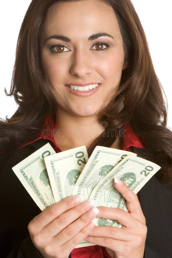 Frauen-Holding-Geld stockfotos